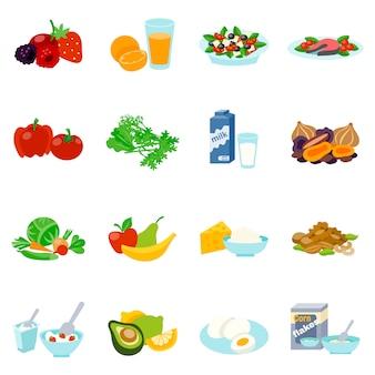 Zestaw ikon płaski zdrowej żywności