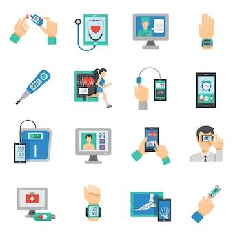 Zestaw ikon płaski zdrowia cyfrowy
