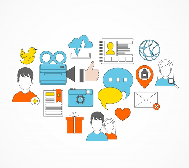 Zestaw ikon płaski zestaw ikon społecznych