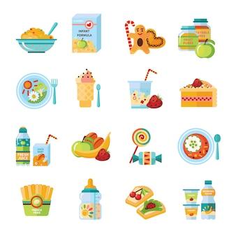 Zestaw ikon płaski żywności dla niemowląt