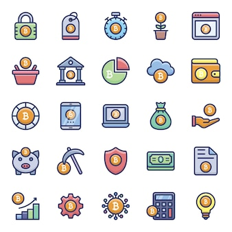 Zestaw ikon płaskich bitcoin