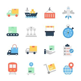 Zestaw ikon płaskich dostawy ładunków
