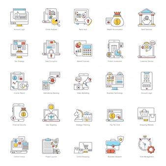 Zestaw ikon płaskich e-mail marketingu