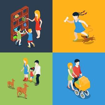 Zestaw ikon płaskich izometrycznych wysokiej jakości rodzinnych wakacji weekendowych wieczorem. mama córka syn tata książka czytanie wózek spacer spacer pies zoo zwiedzanie. zbuduj własną kolekcję świata.
