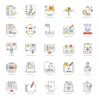 Zestaw ikon płaskich książek elektronicznych