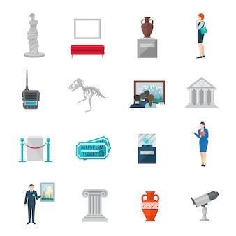 Zestaw ikon płaskich muzeum