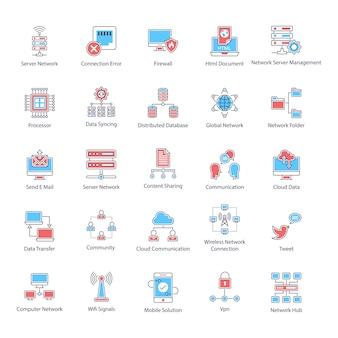 Zestaw ikon płaskich nowoczesnych technologii