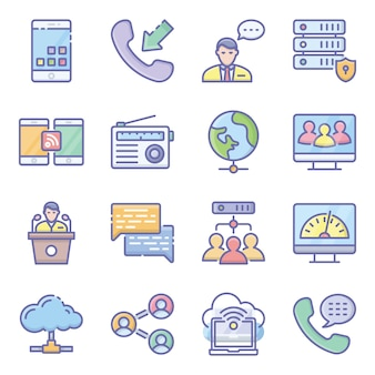 Zestaw ikon płaskich sieci sprzętowych