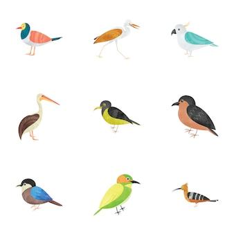 Zestaw ikon płaskich stworzeń ptaków