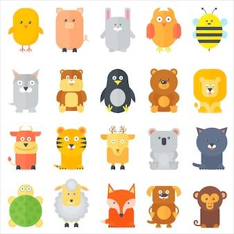 Zestaw ikon płaskich zwierząt kreskówki