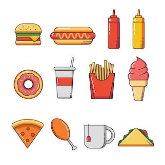 Zestaw ikon płaskie fast food i elementy