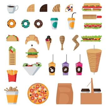 Zestaw ikon płaskie fast food na białym tle