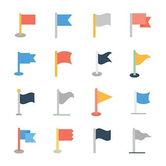 Zestaw ikon płaskie flagi trójkątne