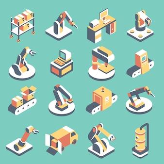 Zestaw ikon płaskie izometryczne zautomatyzowanej linii produkcyjnej