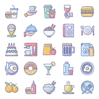 Zestaw ikon płaskie jedzenie paczka