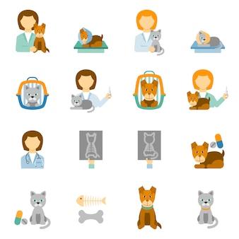 Zestaw ikon płaskie kliniki weterynaryjnej praktyki