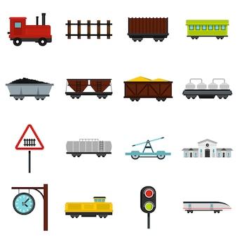 Zestaw ikon płaskie kolejowe