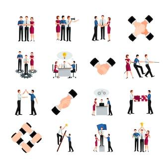Zestaw ikon płaskie kolor pracy zespołowej