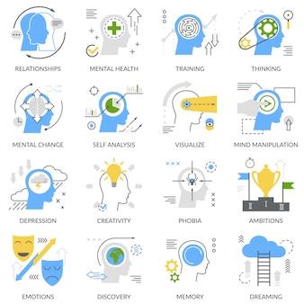Zestaw ikon płaskie koncepcja psychiczna