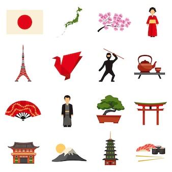 Zestaw ikon płaskie kultury japonii
