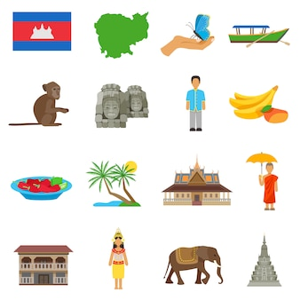Zestaw ikon płaskie kultury kambodży