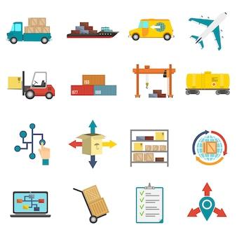 Zestaw ikon płaskie logistyki