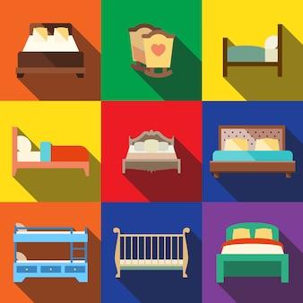 Zestaw ikon płaskie łóżko