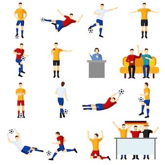 Zestaw ikon płaskie ludzie gry piłka nożna