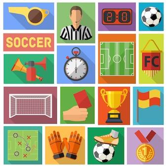 Zestaw ikon płaskie piłka nożna