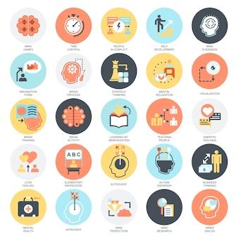 Zestaw ikon płaskie pojęciowy procesu ludzkiego umysłu, funkcje mózgu i emocje.