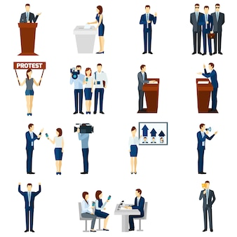 Zestaw ikon płaskie polityka