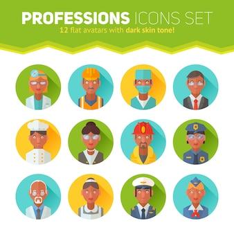 Zestaw ikon płaskie portrety z ludźmi różnych zawodów