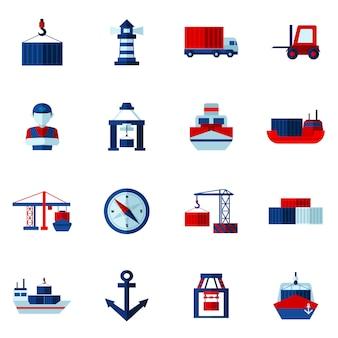 Zestaw ikon płaskie portu morskiego