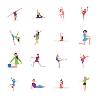 Zestaw ikon płaskie pozy gimnastyczne