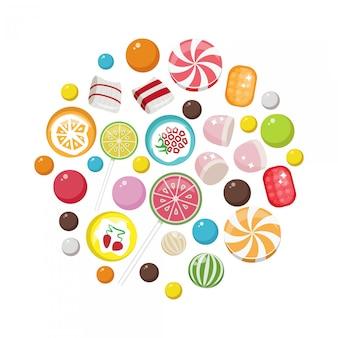 Zestaw ikon płaskie słodkie cukierki