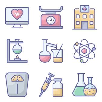 Zestaw ikon płaskie sprzętu medycznego