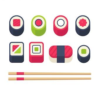 Zestaw ikon płaskie sushi, rolki sushi i sashimi z pałeczkami.