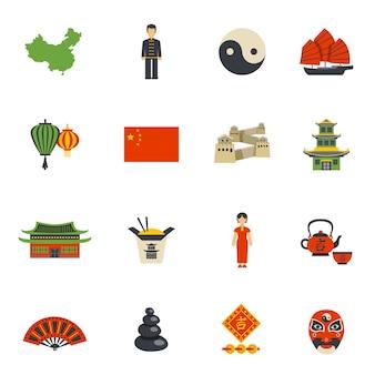 Zestaw ikon płaskie symbole kultury chińskiej