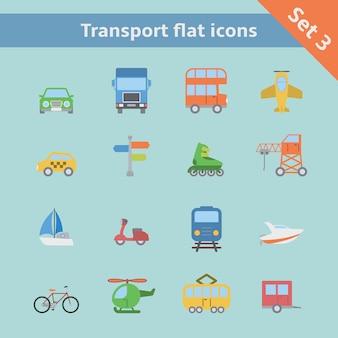 Zestaw ikon płaskie transportu
