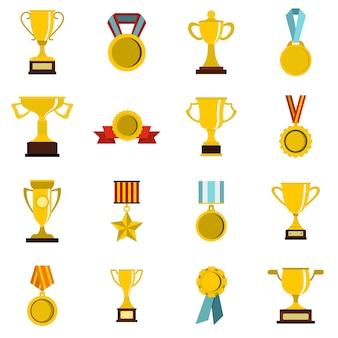 Zestaw ikon płaskie trofeum