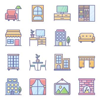 Zestaw ikon płaskie wnętrze domu