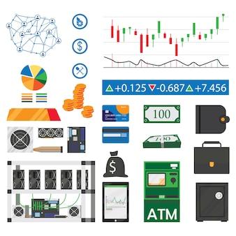 Zestaw ikon płaskie wydobywanie bitcoinów i kryptowalut na białym tle
