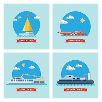 Zestaw ikon płaskie żaglówka, prom, motorówka i poduszkowiec. transport morski.