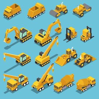 Zestaw ikon płaskiego izometrycznego transportu budowlanego 3d obejmuje koparkę, równiarkę dźwigową, betonomieszarkę, walec drogowy, wózek widłowy, spychacz