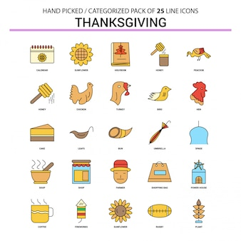 Zestaw ikon płaskiej linii dziękczynienia