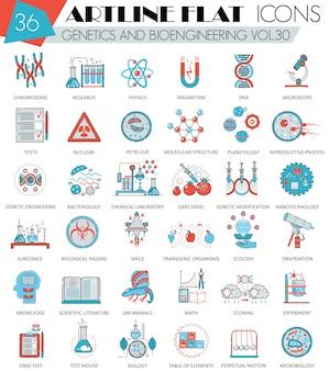 Zestaw ikon płaskiej linii genetyki i bioinżynierii