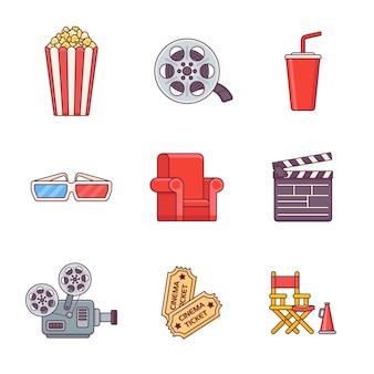 Zestaw ikon płaskiej linii kina.