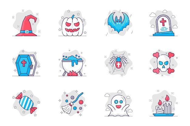 Zestaw ikon płaskiej linii koncepcja halloween obchody wakacji i imprez dla aplikacji mobilnej