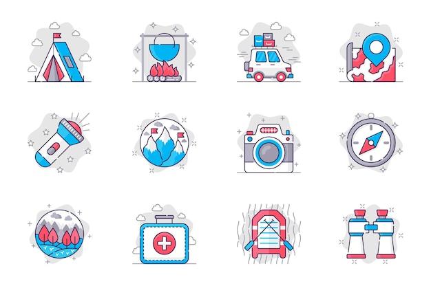 Zestaw ikon płaskiej linii koncepcji kempingu turystyka i rekreacja na świeżym powietrzu dla aplikacji mobilnej