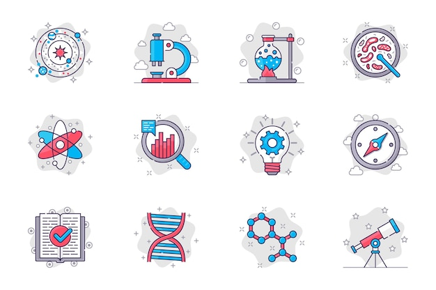 Zestaw ikon płaskiej linii koncepcji nauki badania naukowe i sprzęt laboratoryjny dla aplikacji mobilnej